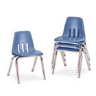 "9000 Series Classroom Chairs, 14"" Seat Height, Blueberry/Chrome, 4/Carton VIR901440"