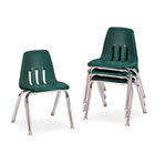 "9000 Series Classroom Chairs, 14"" Seat Height, Forest Green/Chrome, 4/Carton VIR901475"