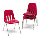 "9000 Series Classroom Chairs, 16"" Seat Height, Red/Chrome, 4/Carton VIR901670"