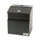 Steel Suggestion Box with Locking Top, 7 x 6 x 8 1/2, Black VRT50085