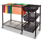 Mobile File Cart w/Drawers, 38w x 15-1/2d x 28h, Black VRTVF50621