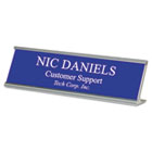 Custom Desk/Counter Sign, 2x8, Silver Frame USS91301