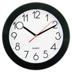 "Round Wall Clock, 9-3/4"", Black UNV10421"