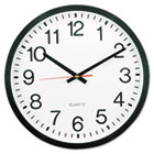 "Round Wall Clock, 11-1/2"", Black UNV10431"