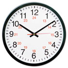 "24-Hour Round Wall Clock, 12 3/4"", Black UNV10441"