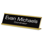 Custom Desk/Counter Sign, 2x8, Gold Frame USS91300