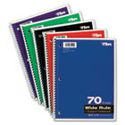 Wirebound 1-Subject Notebook, Wide Rule, 10-1/2 x 8, White, 70 Sheets/Pad TOP65000