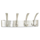 Metal Coat Rack, Steel, Wall Rack, Four Hooks, 14-1/4w x 4d x 5-1/4h, Silver SAF4205SL