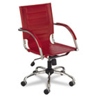 Flaunt Series Mid-Back Manager's Chair, Red Leather/Chrome SAF3456RD