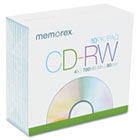 CD-RW Discs, 700MB/80min, 4x, w/Slim Jewel Cases, Silver, 10/Pack MEM03408