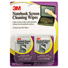 Notebook Screen Cleaning Wet Wipes, Cloth, 7 x 4, White, 24/Pack MMMCL630