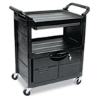 Utility Cart With Locking Doors, Two-Shelf, 33-5/8w x 18-5/8d x 37-3/4h, Black RCP345700BLA