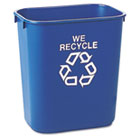 Small Deskside Recycling Container, Rectangular, Plastic, 13.625qt, Blue RCP295573BE
