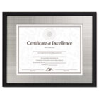 Contemporary Wood Document/Certificate Frame, Silver Metal Mat, 11 x 14, Black DAXN15788ST