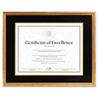 Hardwood Document/Certificate Frame w/Mat, 11 x 14, Antiqued Gold Leaf DAX1511T