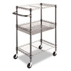 Three-Tier Wire Rolling Cart, 24w x 16d x 39h, Black Anthracite ALESW342416BA