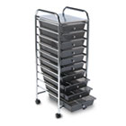 Portable Drawer Organizer, 15-1/4w x 13d x 37-5/8h, Smoke/Chrome AVT34007