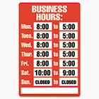Business Hours Sign Kit,  8 x 12, Red COS098072