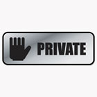 Brushed Metal Office Sign, Private, 9 x 3, Silver COS098210