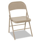 All Steel Folding Chair, Steel, 18-1/4w x 19d x 30h, Antique Linen, 4/Carton CSC14711ANT4