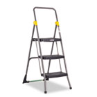 Commercial 3-Step Folding Stool, 300lb Cap, 20 1/2w x 32 5/8d x 52 1/8h, Gray CSC11839GGO