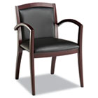 Reception Lounge Series Guest Chair, Mahogany/Black Leather ALERL43BLS10M