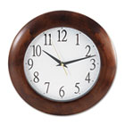 "Round Wood Clock, 12-3/4"", Cherry UNV10414"