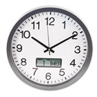 "Round Wall Clock with LCD Inset, 14"", Gray UNV10415"