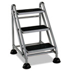 Rolling Commercial Step Stool, 3-Step, 26 3/5 Spread, Platinum/Black CSC11834GGB1