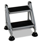 Rolling Commercial Step Stool, 2-Step, 19 7/10 Spread, Platinum/Black CSC11824GGB1