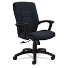 Synopsis Series Medium-Back Tilter Chair, Black Arms/Base, Sapphire Fabric GLB50914BKS106
