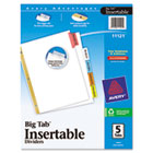 WorkSaver Big Tab Dividers, Multicolor Tabs, 5-Tab, Letter, White, 1/Set AVE11121