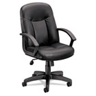 VL601 Series Leather Mid-Back Swivel/Tilt Chair, Metal, 26 x 33-1/2 x 43, Black BSXVL601ST11
