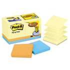 Bonus Pack Pop-Up Refills 3 x 3, Canary Yellow/Ast., 100-Sheet 18/Pack MMMR330144B