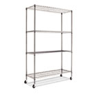 Complete Wire Shelving Unit w/Caster, Four-Shelf, 48 x 18 x 72, Black Anthracite ALESW604818BA