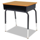 Open Front Student Desk, 24w x 18d, Medium Oak Top, 2/Carton VIR785084