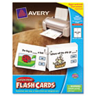 Printable Flash Cards, Hole Punched, 4 1/4 x 8 1/2, White, 4 cards/sheet, 100/PK AVE04766