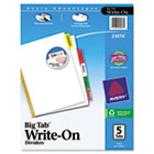Big Tab Write-On Dividers w/Erasable Laminated Tabs, Clear, 5/Set AVE23076