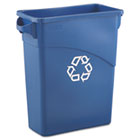 Slim Jim Recycling W/Handles, Rectangular, Plastic, 15.875gal, Blue RCP354173BLU
