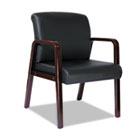 Reception Lounge Series Guest Chair, Mahogany/Black Leather ALERL4319M