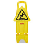 Stable Multi-Lingual Safety Sign, 13w x 13 1/4d x 26h, Yellow RCP9S0900YEL
