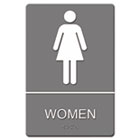ADA Sign, Women Restroom Symbol w/Tactile Graphic, Molded Plastic, 6 x 9, Gray USS4816