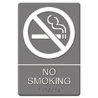 ADA Sign, No Smoking Symbol w/Tactile Graphic, Molded Plastic, 6 x 9, Gray USS4813