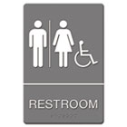 ADA Sign, Restroom/Wheelchair Accessible Tactile Symbol, Molded Plastic, 6 x 9 USS4811