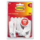 General Purpose Hooks, Medium, 3lb Cap, White, 6 Hooks & 12 Strips/Pack MMM17001VP6PK