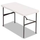 Banquet Folding Table, Rectangular, Radius Edge, 48 x 24 x 29, Platinum/Charcoal ALE65603