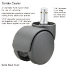 Safety Casters, 100 lbs./Caster, Nylon, B Stem, Hard, 5/Set MAS64235