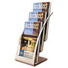 Three-Tier Leaflet Holder, 6-3/4w x 6-15/16d x 13-5/16h, Silver DEF693645