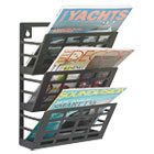 Grid Magazine Rack, Three Compartments, 9-1/2w x 5-1/2d x 13-1/2h, Black SAF4660BL