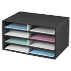 Decorative Eight Compartment Literature Sorter, Letter, Black/Gray Pinstripe FEL6170301